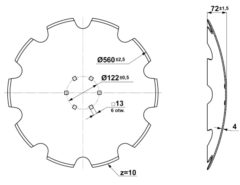 Talerz brony talerzowej - uzębiony